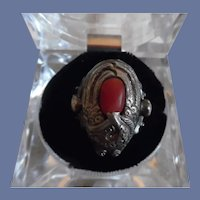 Vintage Hand Made Sterling Coral Insect Ring