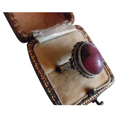 Vintage 800 Silver Pink Stone Ring