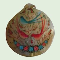 Vintage Hand Painted MOP Pendant G.F. Chain