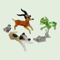 Vintage Set Of 5 Hand Blown Glass Miniature Animals