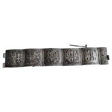 Vintage Sterling Egyptian Revival Story Bracelet