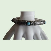 Antique Victorian Sterling Repousse' Persian Turquoise Bangle Bracelet