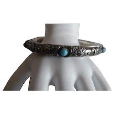 Antique Victorian Sterling Repousse' Persian Turquoise Bangle Bracelet