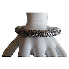 Antique Victorian. Sterling Repousse' Bangle Bracelet