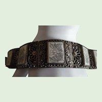 Vintage Chinese Carved Bone Silver Export Bracelet Floral Theme