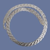 Vintage Italian 925 Sterling Silver Braided Chain Necklace
