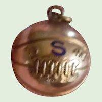 10K Gold 1945 Basket Ball Charm Enamel Letter S