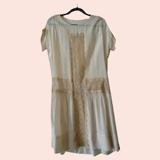 1920's Cream Silk and Lace Flapper Garden Party Dress