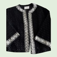 Early 1960's Black Silk Ribbon Knit Cocktail Jacket with Gold Metallic Trim