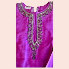 Fabulous Fuchsia Hand Woven Silk Blouse With Metallic Trim