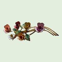 Fabulous 50's  Multi Colored Enamel Sprig Of Flowers Roses Pin