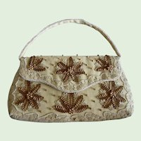 Vintage Finely Woven Straw Purse With Sequins And Beads