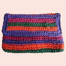 "Vintage 1950's Multi Colored Woven Straw Clutch Purse Signed ""Made in Italy For Fashion Imports"""