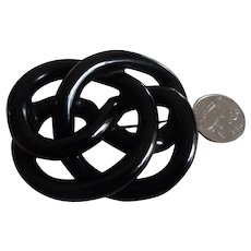 Antique Victorian Large Whitby Jet Love Knot Mourning Pin