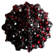 Antique Victorian Faceted Tiered  Garnet C Clasp Pin
