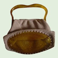 Darling 1950's Early Glitter Plastic And Woven Cotton Hand Bag