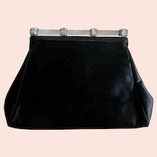 Vintage Art Deco Bergdorf Goodman Black Satin Lucite Handle Evening Bag