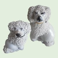 Two Antique Victorian Staffordshire Small Poodles
