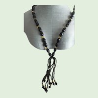 Antique Victorian Jet and Glass Tassel Mourning Necklace
