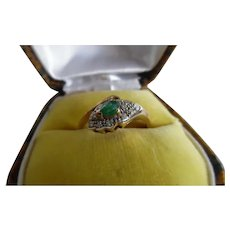 Vintage 14K Yellow Gold Emerald. Diamond Snake Ring