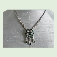 Vintage Bogoff Emerald Green And Clear Rhinestone Necklace