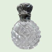 Antique Edwardian Cut Crystal Sterling Capped Perfume Bottle