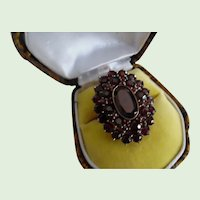 Gorgeous Vintage Bohemian Garnet Cluster Ring