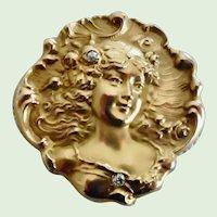 Antique Art Nouveau Solid 14 Karat Gold and Diamonds Pendant Brooch