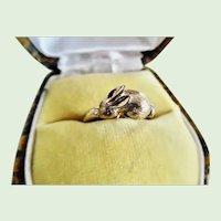 Precious 1950's Sterling Silver Vermeil Adjustable Bunny Ring
