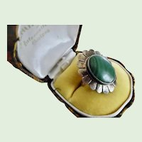 Vintage Navajo Sterling Silver and Malachite Ring Signed B Chee