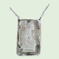 Vintage Art Deco Lady Glass Intaglio Pendant Necklace