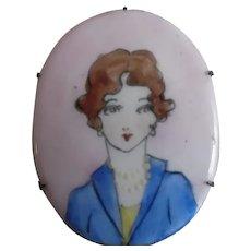 1920s Original Hand-Painted Porcelain Flapper Pin