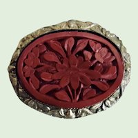 VINTAGE Chinese Carved Cinnabar Pin In Lovely Setting