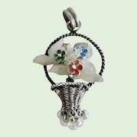 Beautiful Vintage Chinese Woven Silver Basket Pendant With Jade Enamel Flowers and Pearl Dangles