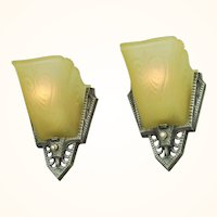 Art Deco Vintage Wall Sconces Pair of 1930s Slip Shade Lights by Gill (ANT-618)
