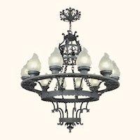 Large 12 Light Chandelier Vintage Cast & Wrought Iron Ceiling Fixture (ANT-711)
