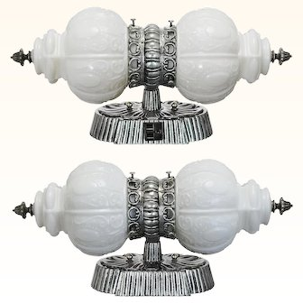 Nice Pair of Nickel Plated Double Wall Lights for Over a Bathroom Sink ANT-1000