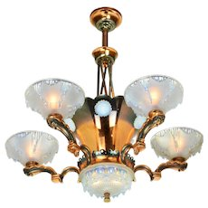 French Art Deco Petitot Chandelier ANT-1001