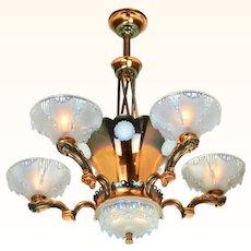 French Art Deco Petitot Chandelier ANT-1001