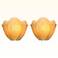 Magnificent LARGE and Imposing Pair of French Embossed Shade Art Deco Sconces ANT-1002