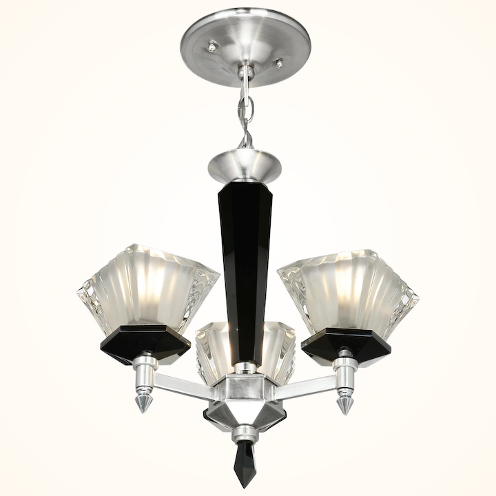 French Art Deco Or Mid Century Modern Chandelier Ant 1010
