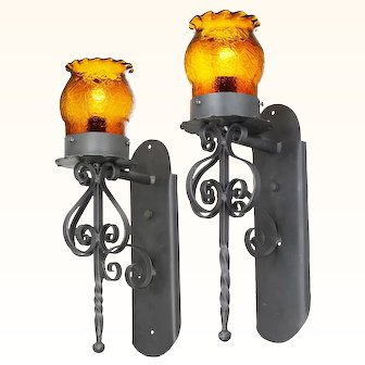 Pair of Gothic / Medieval Iron and Amber Crackle Glass Sconces ANT-1015