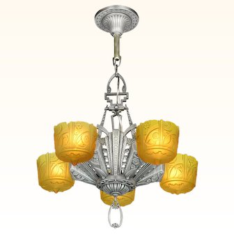 Antique Art Deco Slip Shade Chandelier made by Lincoln ANT-1016