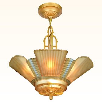 Art Deco Streamline 6 Light Chandelier by Mid-West Mnf ANT-1019
