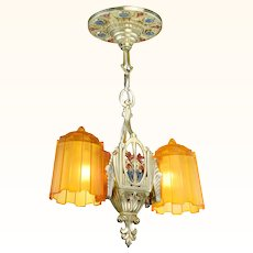 Art Deco 2 shade Pendant by Lincoln Mnf ANT-1023