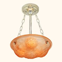 Lovely French Art Nouveau Pink French Ceiling Embossed Ceiling Chandelier Bowl ANT-1024