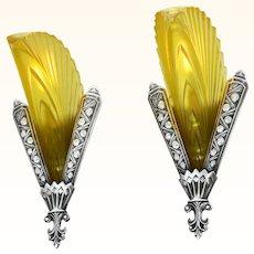 Unique French Art Deco Pair of Sconces ANT-1034