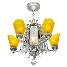 Art Deco Slip Shade Chandelier with Cut glass Center Panels ANT-1038