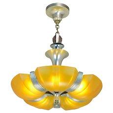 Streamline Art Deco Slip Shade Chandelier ANT-1043
