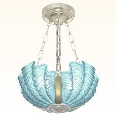 Art Deco British Odeon Movie Theatre Chandelier with 3 Clam Shell Slip Shades ANT-1045